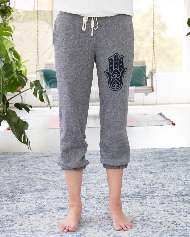 Dark Grey Sweatpants with Hamsa