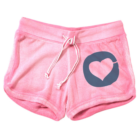 Super Love Heart - Hyper Pink Sand Washed Lounge Shorts