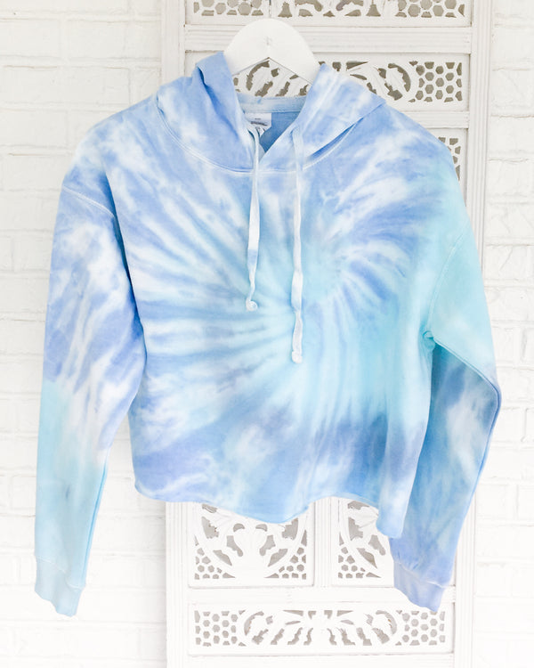 Tie Dye Crop Hoodie - Blue Dream Fleece