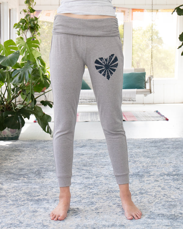 Heather Dark Grey Rollover Lounge & Roam Pants