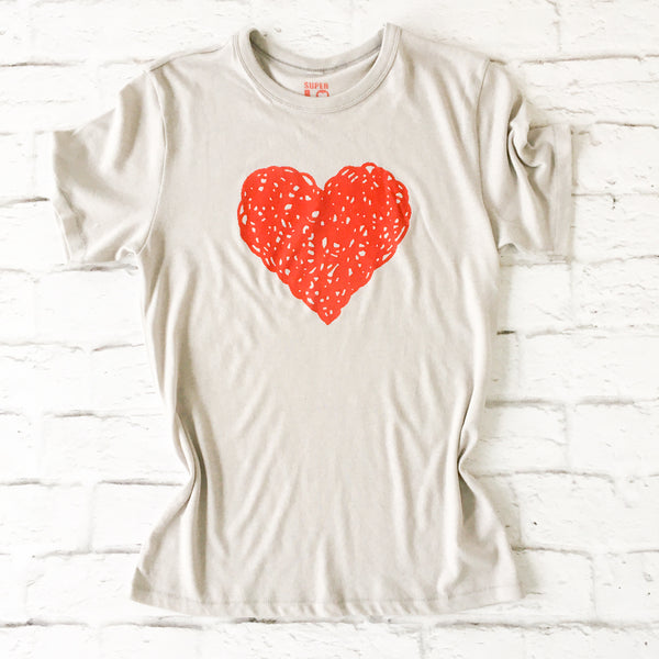 HEART - Dove Grey Soft Unisex Tee