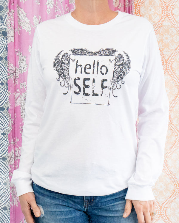 Hello Self  -  White Cotton Unisex Long Sleeve Tee