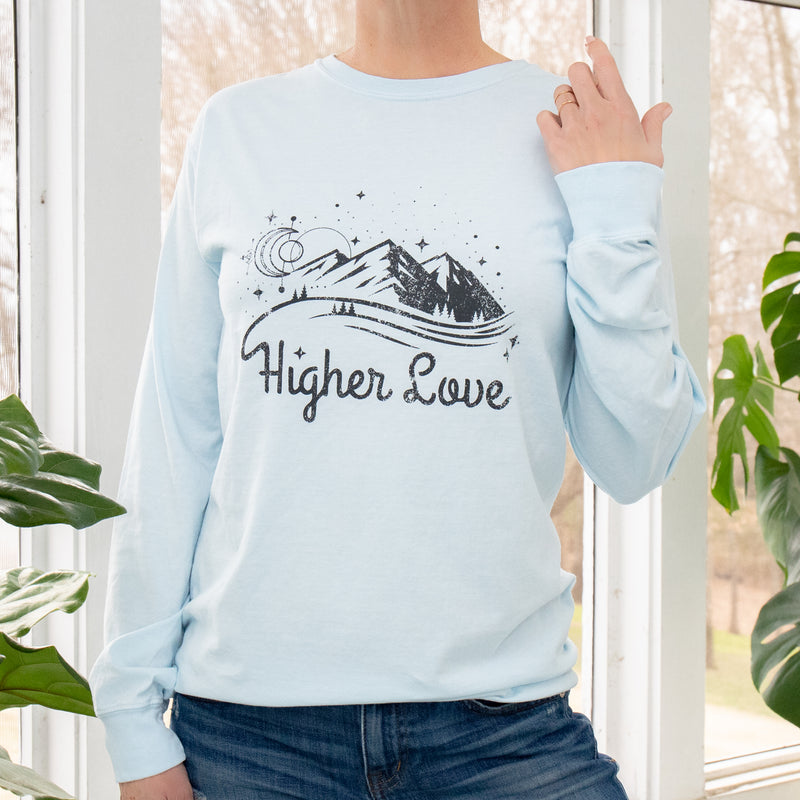 Higher Love  -  Baby Blue Cotton Unisex Long Sleeve Tee