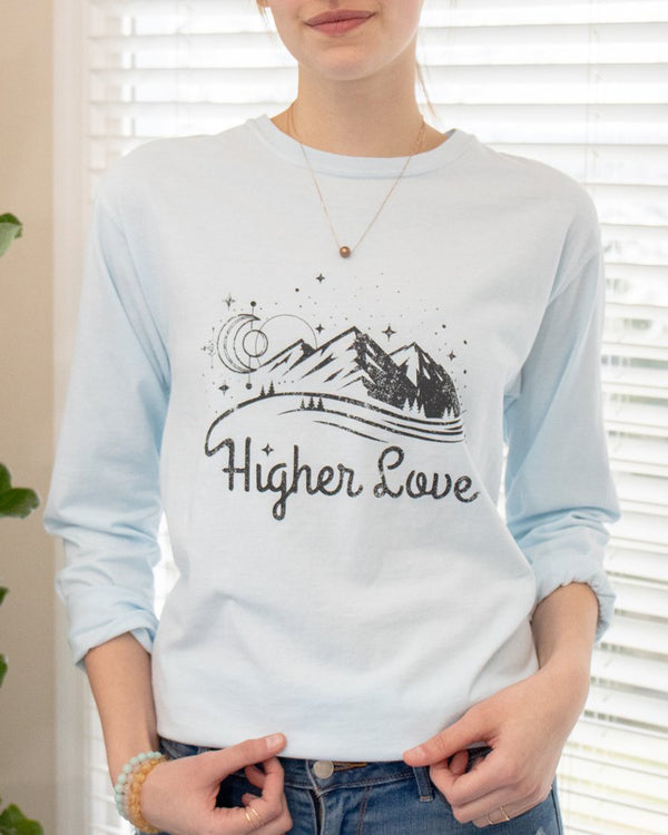 10fe3a740d5146 ... Higher Love - Baby Blue Cotton Unisex Long Sleeve Tee