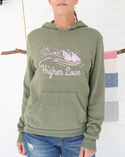 Higher Love - Moss Green Pullover Fleece Hoodie