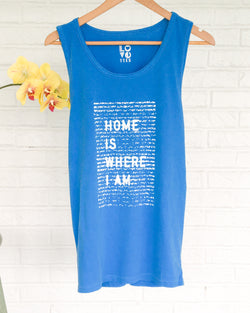 Home is Where I Am - Cerulean Unisex Cotton Tank