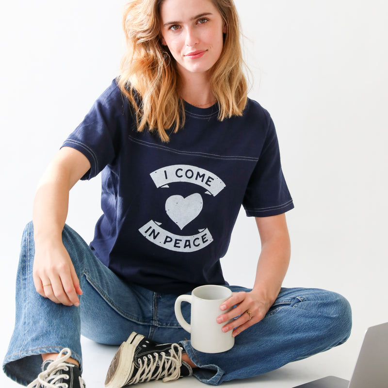I Come in Peace ~  Navy Vintage Sport Tee