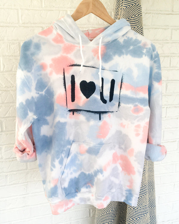 i love you - Coral & Blue Dream Dye Hoodie