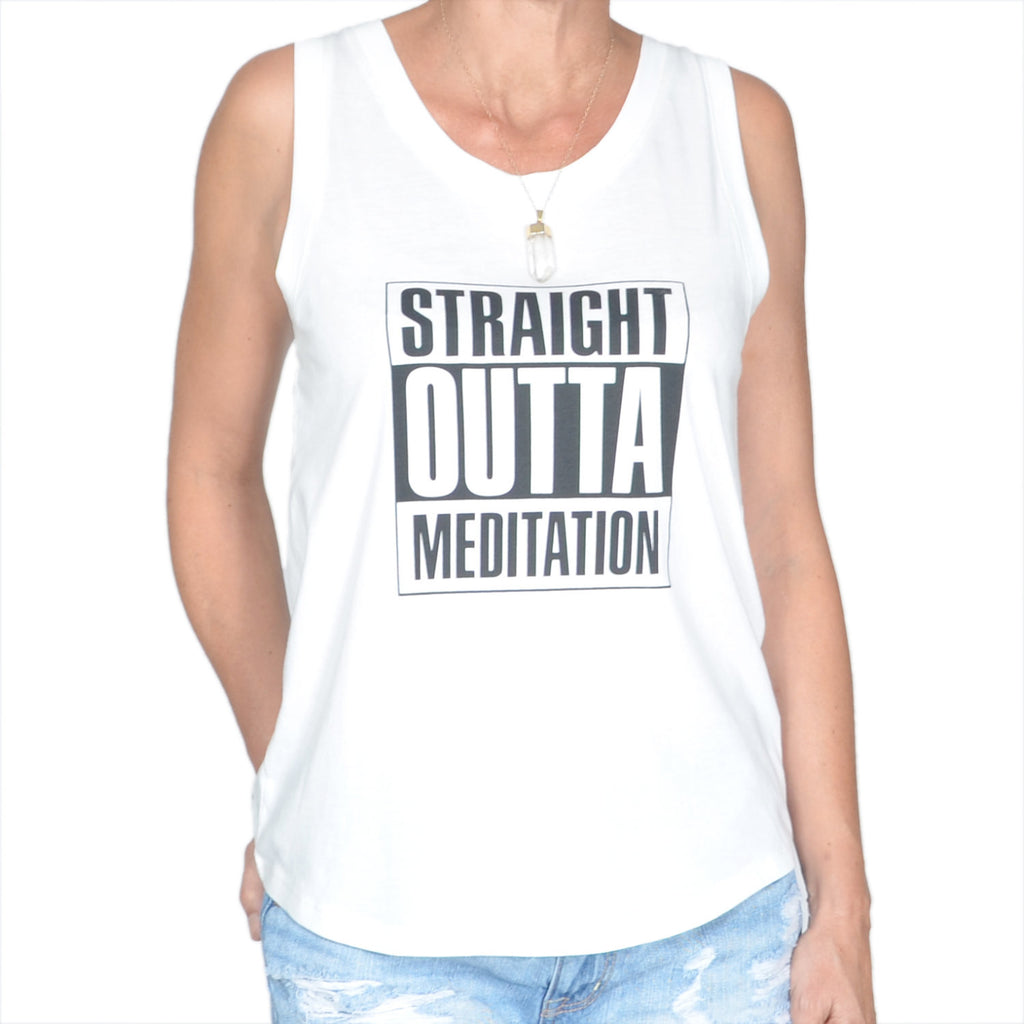Straight Outta Meditation - White Muscle Tee