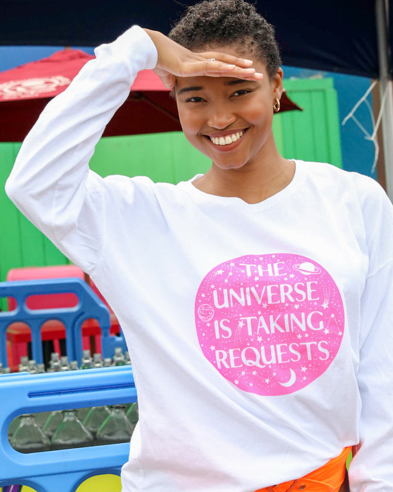 THE UNIVERSE IS TAKING REQUESTS  -  WHITE Cotton Unisex Long Sleeve Tee