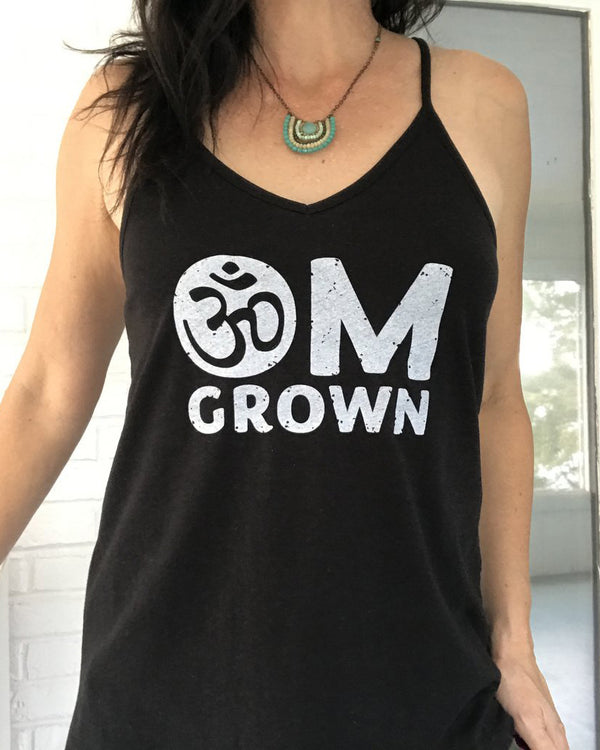 Om Grown - Black 100% Cotton Strappy Tank