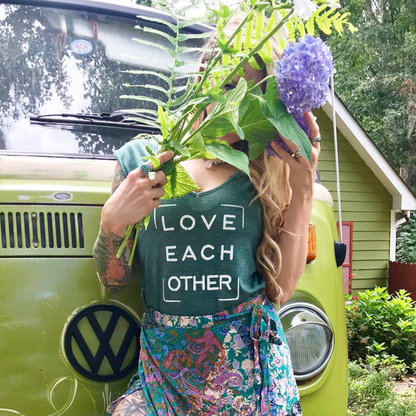 Love Each Other - Jade V-Neck Muscle Tee