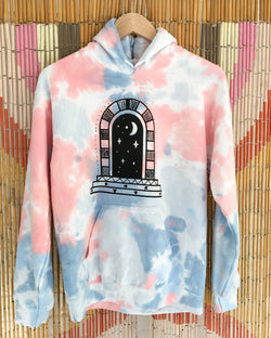 Cosmic Portal - Coral Dream Tie Dye Fleece Hoodie