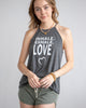 Inhale. Exhale. Love.  - Charcoal Flowy Halter Tank