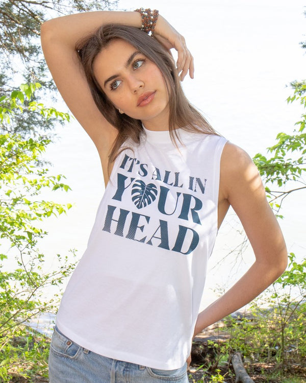 It's All in Your Head - White Cotton Muscle Tee