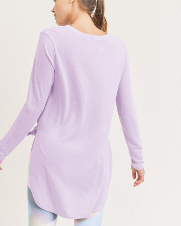 Lavender Long Sleeve Flow Top with Side Slits
