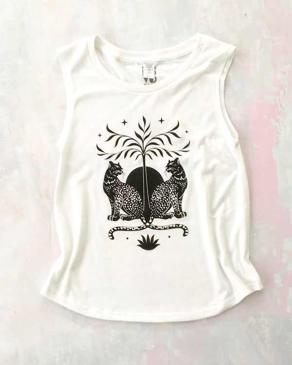 Leopard Love - White Muscle Tee