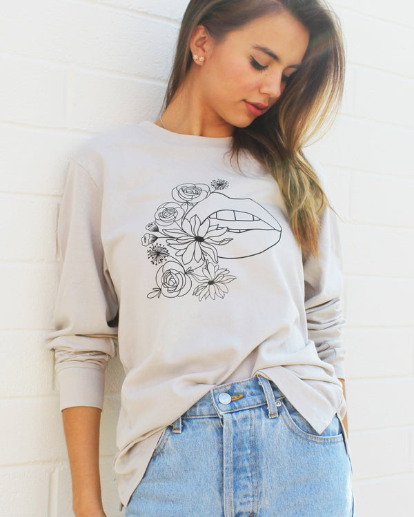 Flowers/Mouth  -  Pebble Cotton Unisex Long Sleeve