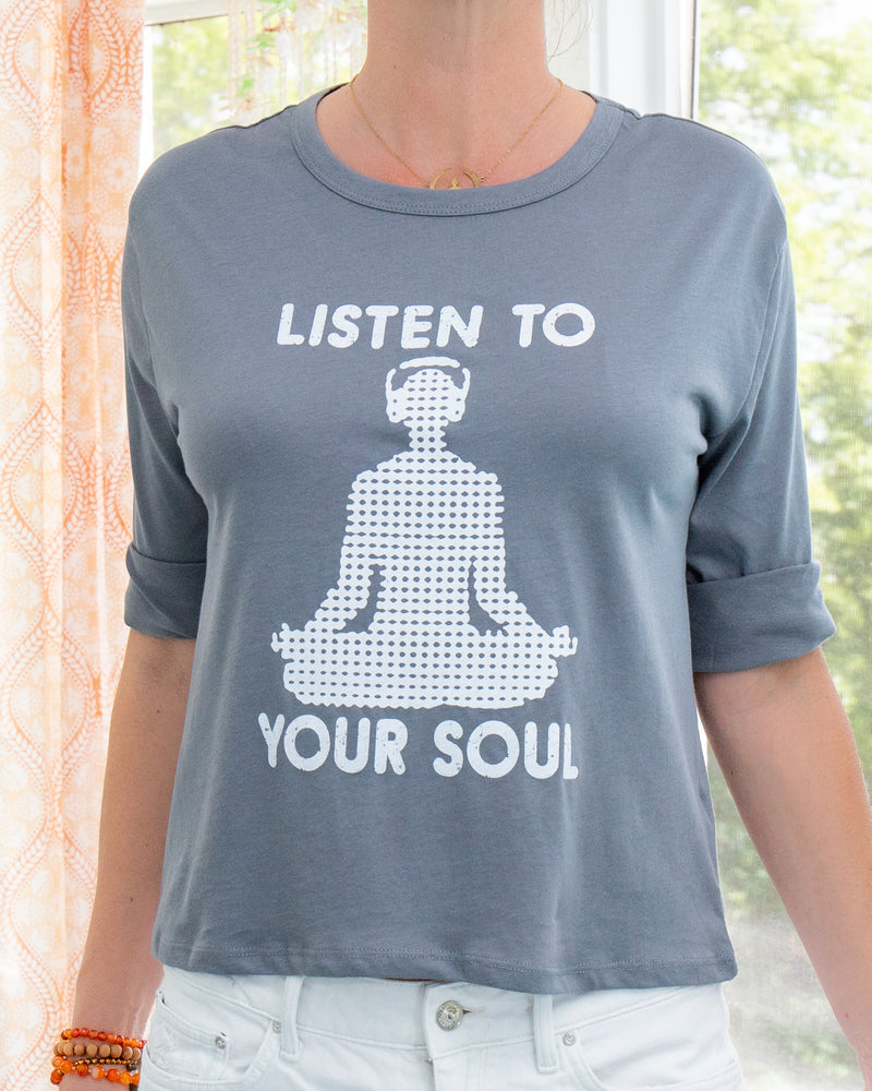 Listen to your Soul  -  Ocean Blue Organic Cotton 3/4 Tee