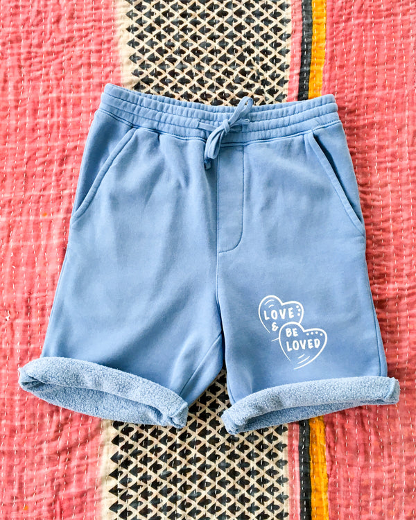 LOVE AND BE LOVED  -  SKY BLUE GYM SHORTS