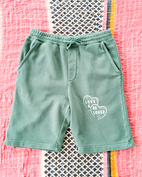LOVE AND BE LOVED  -  PINE GREEN GYM SHORTS