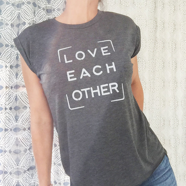 Love Each Other -  Graphite Rolled Cuff Muscle Tee