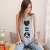 Love Is Peace - Grey Muscle Tee