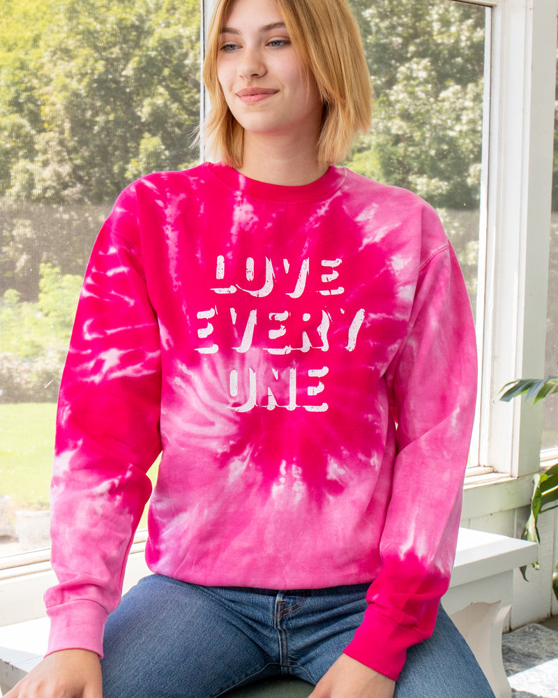 Love Every One - Tie Dye Pink Sweatshirt