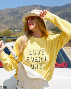 Love Every One - Soft Yellow Sweatshirt