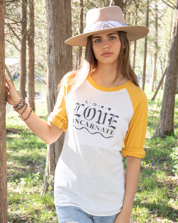 Love Incarnate - Yellow and White Unisex Baseball Tee