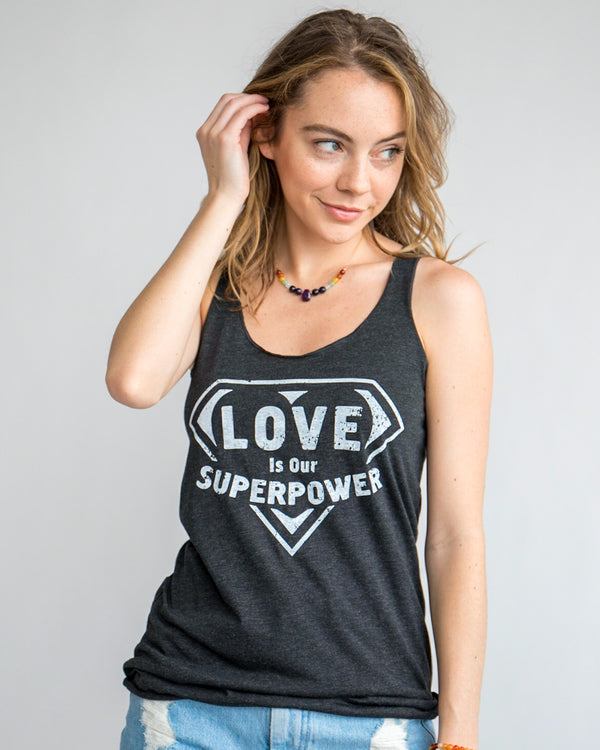 Love Is Our Super Power ~ Black Racer Back Tank