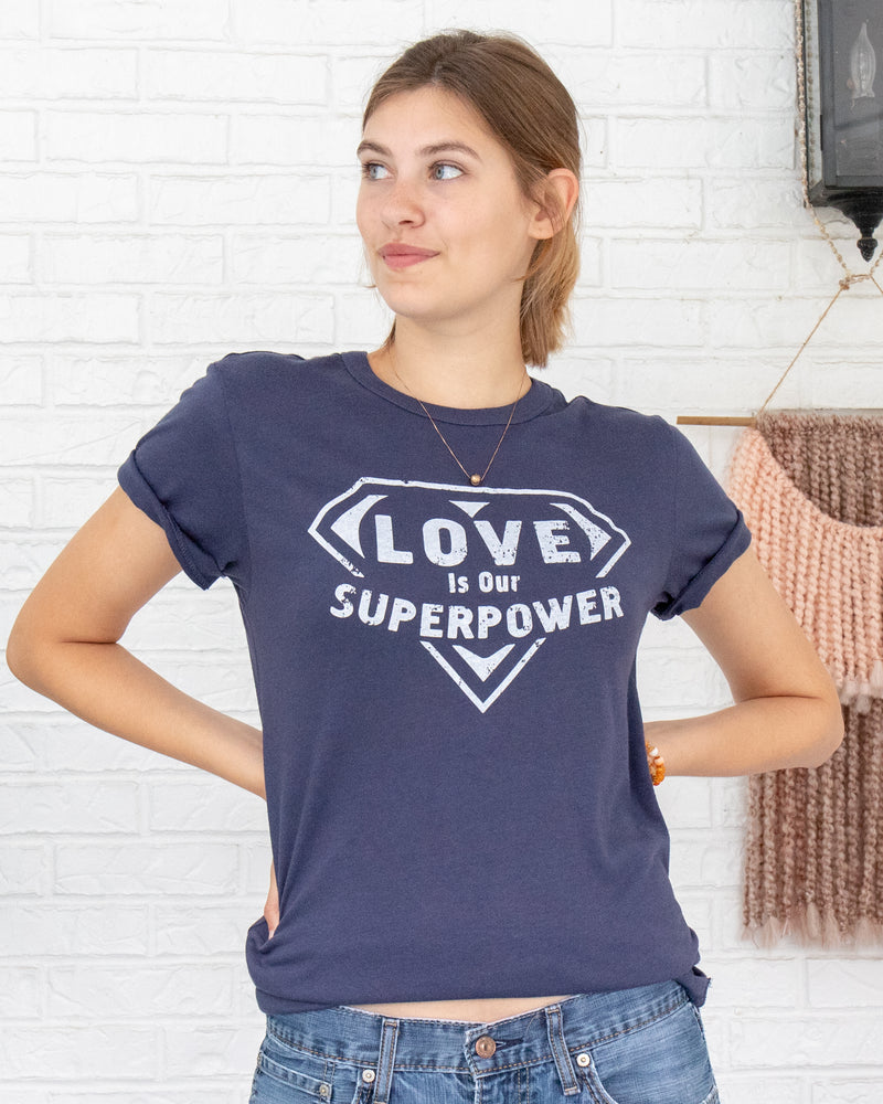 Love Is Our Super Power - Navy Blue Soft Unisex Tee