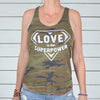 Love Is Our Super Power -   Camo Racer Back Tank