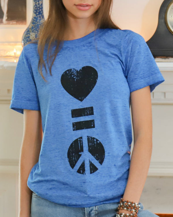 Love = Peace - Burnout Blue Unisex Tee