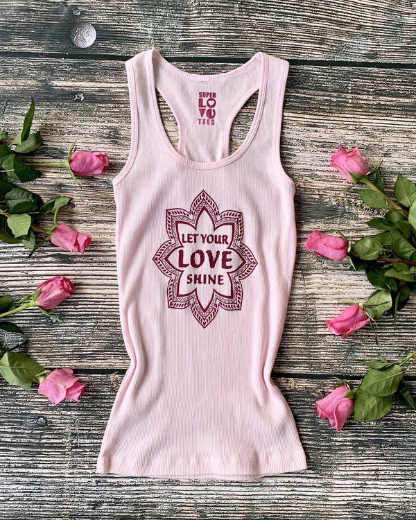 Let Your Love Shine ~ Pink Ribbed Cotton Racer Tank