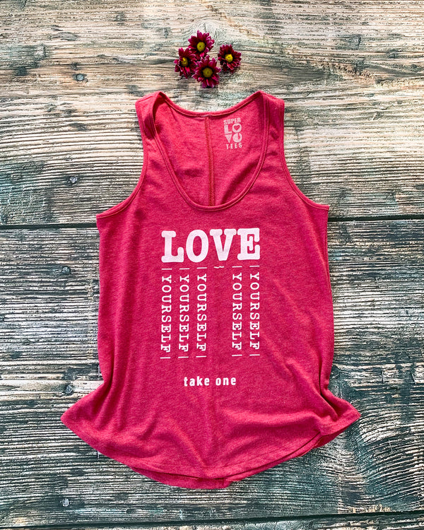 Love Yourself  - Watermelon Vintage Feel Tank