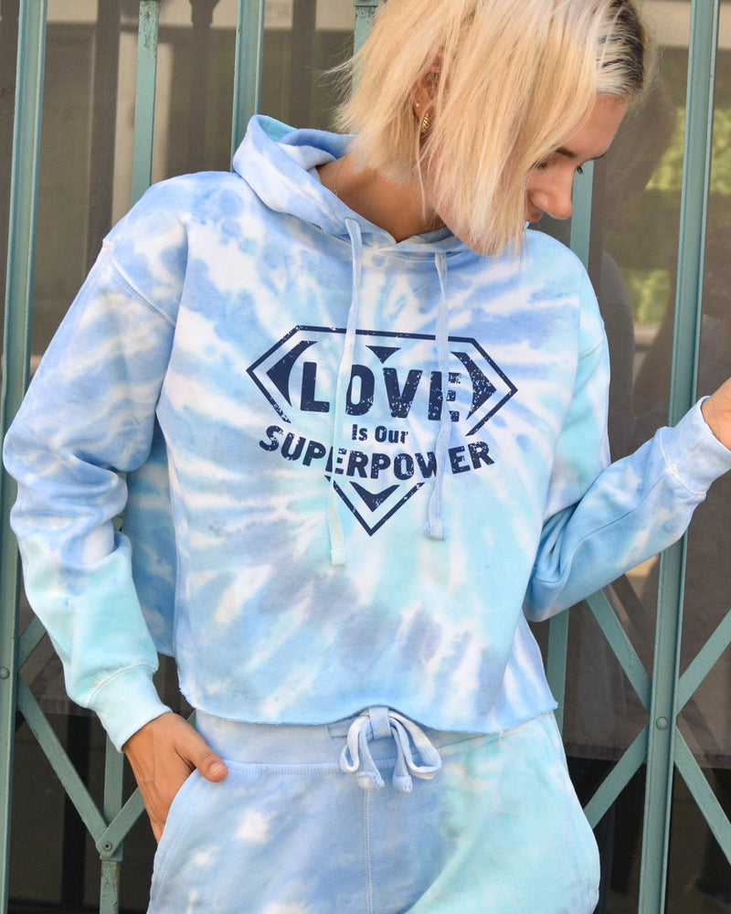 Love is our Super Power - Tie Dye Fleece Hoodie