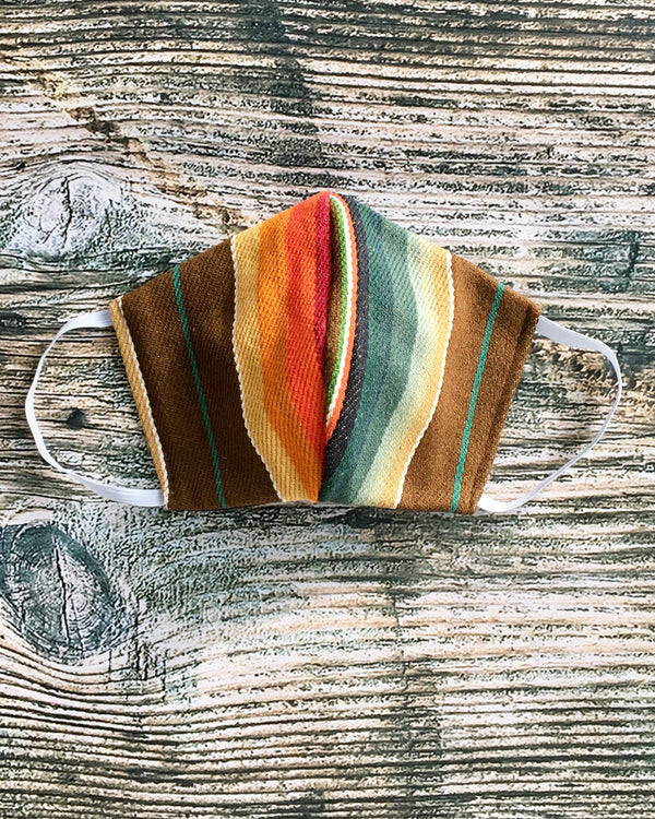 Serape Face Mask in Orange, Teal, & Brown