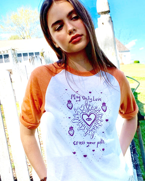 May Only Love Cross Your Path - Orange and White Unisex Baseball Tee