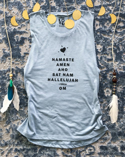 Namaste, Amen....Om - Heather Blue Muscle Tee