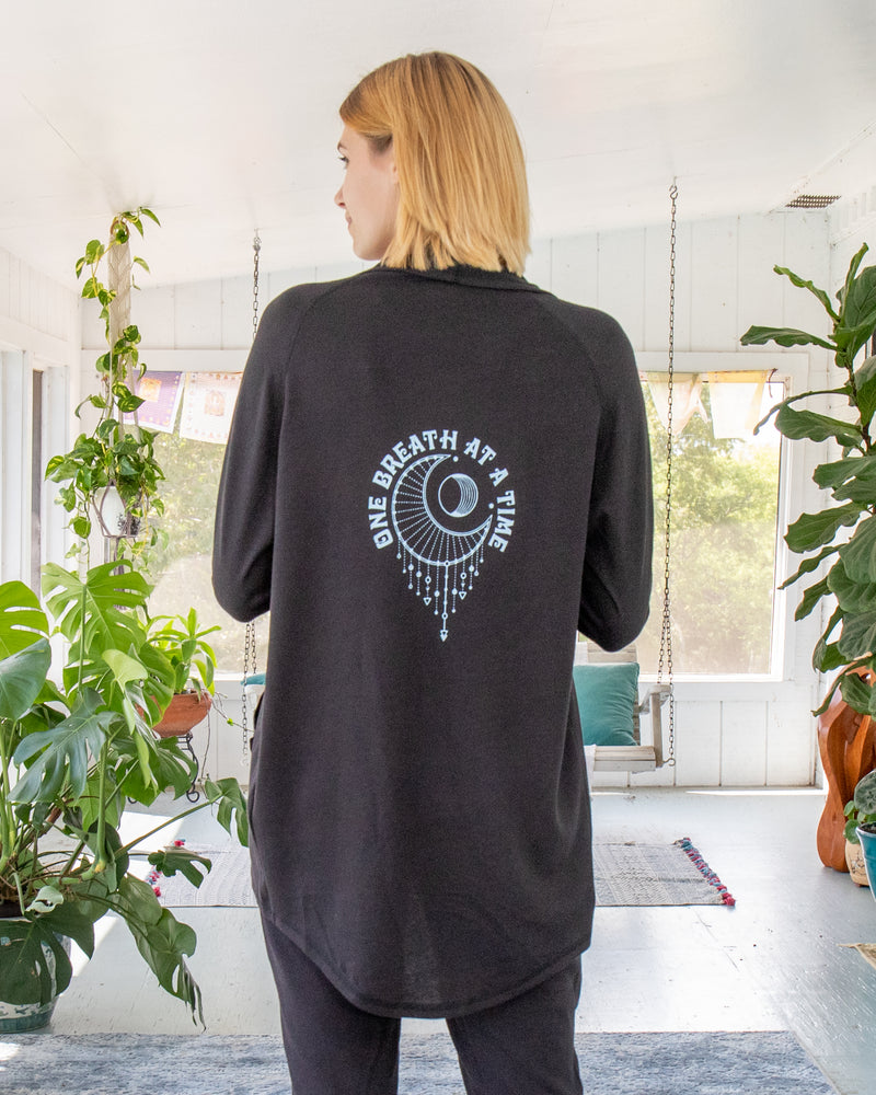 One Breath at a Time  - Black Wrap Cardigan