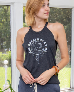 One Breath at a Time  - Charcoal Halter Tank