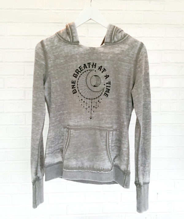One Breath at a Time - Cement Burnout Pullover Hoodie