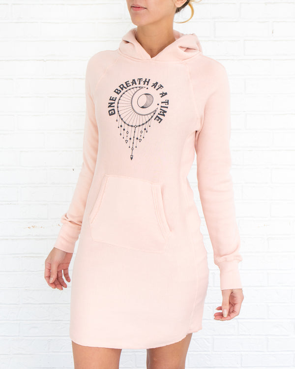 One Breath at a Time  - Rose Quartz Fleece Hoodie Sweatshirt Dress