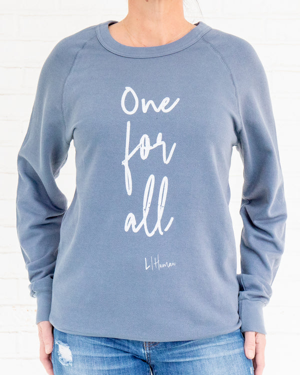 One for All - Denim Blue Unisex French Terry Sweatshirt