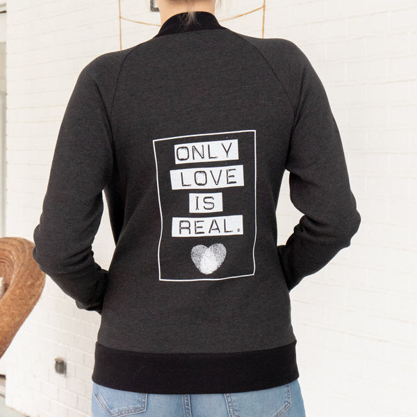 Only Love Is Real  - Unisex Black Zip Jacket