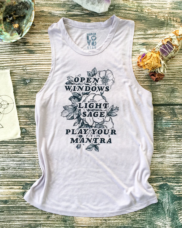 Open Windows....Play Your Mantra  - Lilac Slinky Muscle Tee