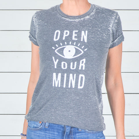 Open Your Mind - Burnout Grey Unisex Tee