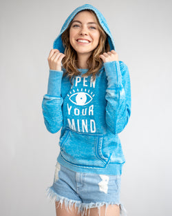 Open Your Mind - Blue Burnout Pullover Hoodie