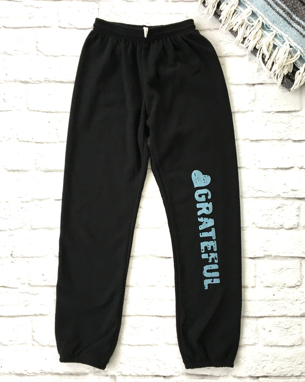Grateful -  Black Old School Sweatpants